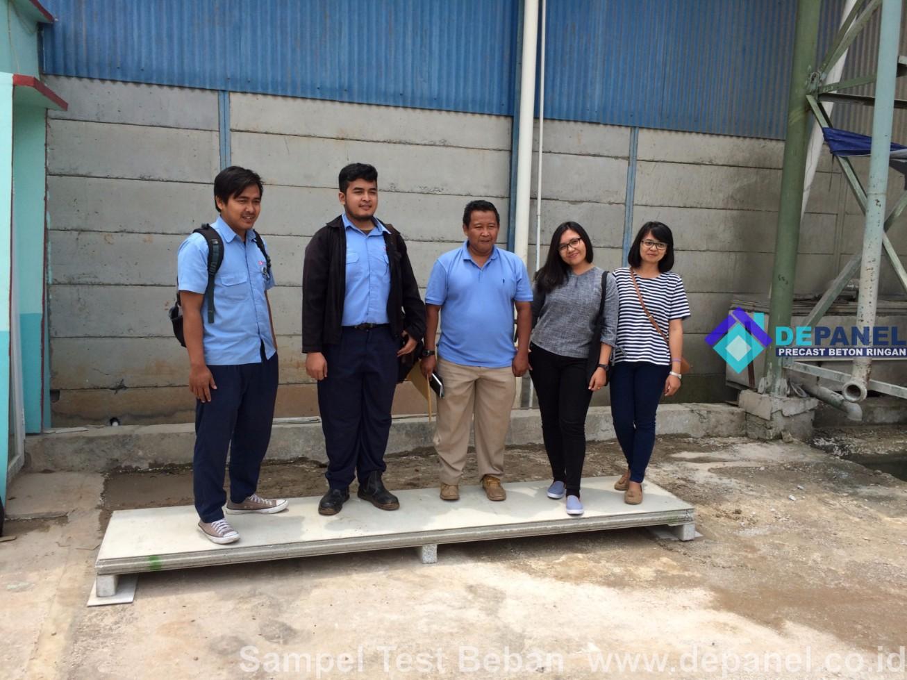 depanel, test beban, panel beton, beton ringan, panel dinding, panel lantai