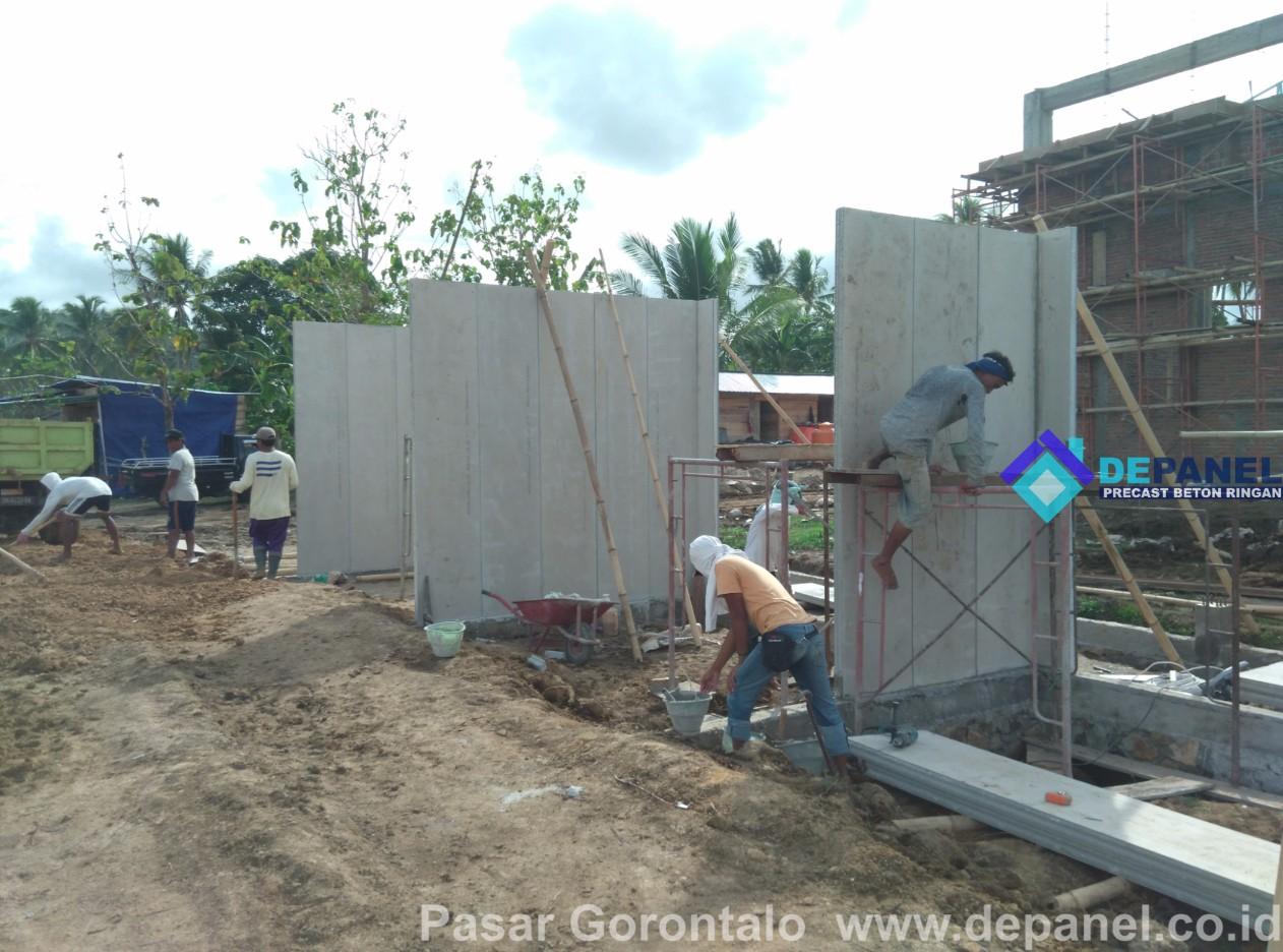 depanel, pasar gorontalo, dinding panel, panel beton, beton ringan